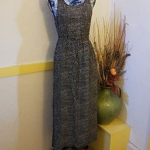 Lucky brand maxi dress black with white dots sz S